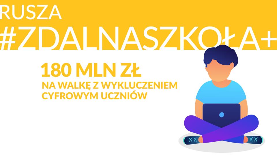 """Laptopy dla uczniów z Gminy Kruszyna w ramach grantu """"Zdalna Szkoła +"""""""